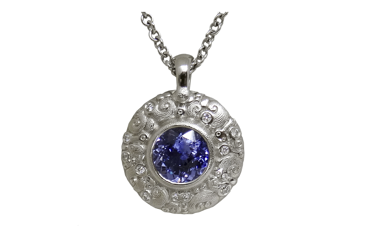 "M76P Platinum ""Temptation"" Pendant with Sapphire and Diamonds"